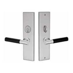 Skyline Entry Plate with Callista Lever - Fusion Hardware's Skyline Keyed Entry Plate has a simple rectangular design that is only made better by the addition of Fusion's many knob or lever choices. It is constructed from solid brass and is finished in your choice of oil rubbed bronze satin nickel or polished chrome. It will fit all standard 5-1/2 inch on center door borings.