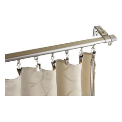"""Rod Desyne - Armor Curtain Track 66-120"""" - Silver - This Armor Track offers an added level of functionality from its effortless and smooth glide of curtains. Its sleek and modern design adds an elegant statement to any room. A baton draw affords the comfort of tangle-free cords.; Includes one 66-120 inch adjustable track with 30 sliders, 30 hooks with clips, 5 adjustable wall brackets, 1 baton and mounting hardware. Curtain not included.; Extremely smooth baton draw operating track with sliders that offer superior slide fit between inner and outer rod.; Track is 7/8 inch wide 1/2 inch tall. Steel construction with baton pulls for opening and closing the draperies; Adjustable bracket clearence adjust from 1 to 1-3/4 inch; Silver Color; Weight: 2.2 lbs; Dimensions: 1""""H x 66""""W x 2.5""""D"""
