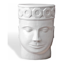 Kathy Kuo Home - Imperial King Global Bazaar White Face Garden Stool - This garden stool rules. Inspired by an Angor king's stool, it's made of white porcelain in the shape of a face and crown. It looks absolutely amazing placed atop a bright kilim rug to stand in stark contrast. Or, use it as a striking focal point in your garden.