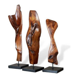 Interlude Home - Interlude Home Banjar Wood Sculptures - These Interlude Home Wood Sculptures  are crafted from Wood and Marble and finished in Natural Polished and Black.  Overall sizes are: 9 in. W  x  8 in. D x 33 in. H.  8 in. W  x  8 in. D x  30 in. H.