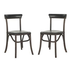Safavieh - Kenny Bicast Leather Side Chair in Antique Black - Straddling country, retro and industrial chic styles, the Kenny side chair is reminiscent of Thonet bentwood seating. Crafted of oak in dark chestnut with antiqued black faux leather upholstery, this classic dining chair is finished with brass nail heads. The Kenny side chair is ideal in a kitchen breakfast nook or dining room.