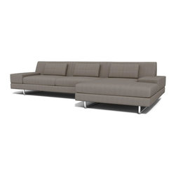 True Modern - Hamlin Sofa with Chaise, Dolphin - Add this 130-inch minimalist sofa with a built-in chaise to your living room for a chic and comfortable seating option. The extra room gives everyone plenty of space to stretch out and relax. All that's left to do is choose your favorite color.