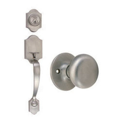 DHI-Corp - Sussex 2-Way Latch Entry Door Handle Set with Knob, Handle and Keyway, Adjustabl - The Design House 753590 Sussex 2-Way Entry Handle Set features a lock handle in satin nickel. The popular styling of the scalloped shaped handle is easily incorporated into most architectural styles and will add a touch of elegance to your decor. The scalloped entry handle set has a reversible handle for right or left hand doors and includes a radius and latch plate. It fits doors 1-3/8-inches to 1-3/4-inches thick. The 2-way latch is adjustable from 2-3/8-inches to 2-3/4-inches. This product comes with a door handle, knob and keyway and is ANSI Grade-3 certified, which means this kit is rated for residential security. Design 753590 Sussex 2-Way Entry Handle Set comes with a limited lifetime mechanical warranty and a 5-year finish warranty that protect against defects in material and workmanship. It is UL listed for use on fire doors to ensure the highest quality. Design House offers products in multiple home decor categories including lighting, ceiling fans, hardware and plumbing products. With years of hands-on experience, Design House understands every aspect of the home decor industry, and devotes itself to providing quality products across the home decor spectrum. Providing value to their customers, Design House uses industry leading merchandising solutions and innovative programs. Design House is committed to providing high quality products for your home improvement projects.