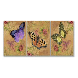 Stupell Industries - Aqua Butterfly Garden 17 x 33 Triptych Art - Made in USA. Ready for Hanging. Hand Finished and Original Artwork. No Assembly Required. 17 in L x 0.5 in W x 33 in H (8 lbs.)The newest sensation from The Stupell Home decor Collection is their oversized Triptych Wall Art.  Featuring original art, these large pieces (approx. 17 x 11 each) form one image spread over several panels.  It is the perfect oversized piece for your main walls.  Whether it is a cityscape, an abstract or a modern, there is something for everyone.  Edges are hand painted and they come with sawtooth hangers on the back for instant use.  MADE IN USA