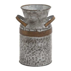 Benzara - Asiatic Antique Metal Galvanized Milk Can - Asiatic Antique Metal Galvanized Milk Can. This Asiatic Galvanized Can will allow you to store your milk in a perfect milk can. Some assembly may be required.