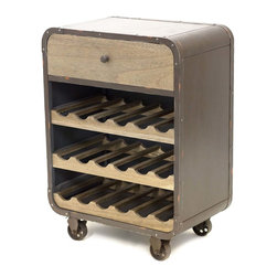 Vertuu Design - Silas Wine Rack - Stow your favorite wines in the stylish Silas Wine Rack. The rack's ash veneer face and distressed top and sides give it an industrial look. Its wheels allow for portability and easy maneuvering in different spaces, while its top drawer creates extra storage space for corkscrews and decanters.
