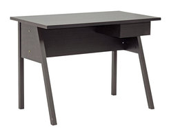 Baxton Studio - Baxton Studio Frommes Dark Brown Modern Desk - A simple silhouette of a writing desk, the Frommes Modern Desk will help get the job done. From paying bills to browsing the internet, this small home office desk keeps it simple with dark brown faux wood grain paper veneer over an engineered wood frame. A small single drawer on the desk's right side is ideal for pens, notepads, and other small necessities. The Frommes Contemporary Desk is made in Malaysia, requires assembly, and is easily cleaned with the swipe of a dry cloth.