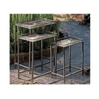 IMAX Worldwide Home - Maniera 3-Pc Nesting Table Set - Includes small, medium and large table. Flower design tabletops. Cast metal and metal tubing. Made from 100% wrought iron. Black color. Small: 14.25 in. W x 8.25 in. D x 18.5 in. H. Medium: 16.25 in. W x 10.75 in. D x 21.5 in. H. Large: 18.25 in. W x 11.75 in. D x 24 in. H. Weight: 24.1 lbs.