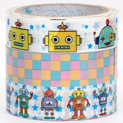 Deco Tape set with robots and checkered tape - cute Deco Tape-Set
