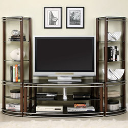 Furniture of America - Furniture of America Khanhshey Tempered Glass Pier Tower Shelf 52-inch Media Cen - Keep your electronics organized with this stylish metal-and-glass media center. Featuring a contemporary look,this lovely furniture piece is the perfect addition to your living room or entertainment room space. It includes two matching two-pier towers.