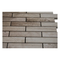 """Wooden Beige Big Brick Pattern Marble Mosaic Tiles - sample-WOODEN BEIGE3/4X4 GLASS TILES BIG BRICK 1/4 SHEET SAMPLE You are purchasing a 1/4 sheet sample measuring approximately 3 """" x 12 """". Samples are intended for color comparison purposes, not installation purposes.-Glass Tiles -"""
