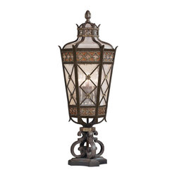 Fine Art Lamps - Chateau Outdoor Outdoor Pier Mount, 403983ST - Inspired by a French chateau, this impressive pier-mount exterior light will extend a warm welcome from your home's facade. Made of solid brass, it features a rich variegated umber patina and intricately trimmed antiqued glass.