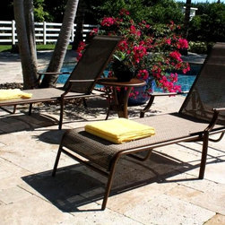 Hospitality Rattan - Chub Cay Patio Sling 3 PC Chaise Lounge Set i - Pool guests will appreciate the classic looks of our Chub Cay chaise set. It promises nothing but comfort and an afternoon in the sun with two loungers featuring mesh sling insets. The accent table in aluminum is perfectly sized for individual or shared spaces. Include: 2 Chaise Lounges and 1 End Table. Made of Extruded Aluminum Frame will not rust. Finished in a powder coated Dark Bronze finish. Extruded Aluminum Frame w Twitchel fiber. Weather and UV resistant. Frame will not rust. Sturdy aluminum legs for extra support. Stackable Design. Sling Chaise Lounge: 79 in. W x 34 in. L x 36 in. H (25 lbs.). End Table: 21 in. W x 21 in. L x 22 in. H (10 lbs.)This traditional Chub Cay collection incorporates a tubular extruded aluminum frame resembling bamboo that will not rust. A custom made Twitchel Sling fiber is used in place of cushions on the seating pieces. The Chub Cay arm chairs are not only very durable, but are also stackable for easy storage. The dining table tops are tempered glass and will accommodate an umbrella. The collection also features a special aluminum slatted top on the coffee table, and the end table which work for both the Chub Cay collection and the Coco Palm Outdoor Group.