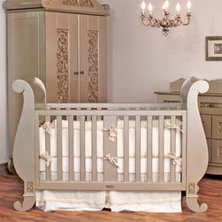 Chelsea Antique Silver Sleigh Crib by Bratt Decor - Chelsea Sleigh Crib in Antique Silver by Bratt Decor