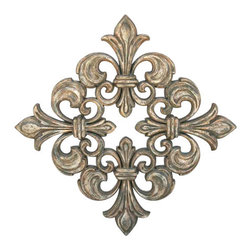 "Factory Direct Wall Decor - Square Fleur De Lis Grille - The Square Fleur de Lis Grille consists of four fleur de lis patterns constructed to make a square piece. The item is beautifully sculpted, and has a flavor of France. This item can be hung as either a diamond shape (as shown in the picture), or as a square. The dimensions for the total piece are 31""W x 31""H x 4"" in Depth when hung as a square, and approximately weighs 15 lbs."