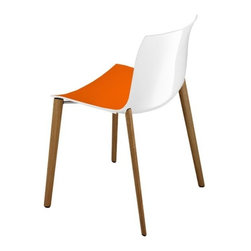 IMPORT LIGHTING & FUNITURE - Catifa Chair, Orange/White - Sleek profile with a crisp, casual efficiency that is designed for contract use and slightly smaller spaces. Made for both residential and contract use, indoors and out.