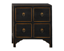 Antique Revival - Black Nara 4-Drawer Accent Cabinet - This four-drawer cabinet's square, geometric lines and patterns add a clean, fresh touch to any bedroom, living room or hallway. It makes a great accent piece, and also works functionally for storage space. The round, iron hardware rings used as handles on each drawer, and the natural wood peaking through on the cabinet's edges, add just the right details. Item is newly made.