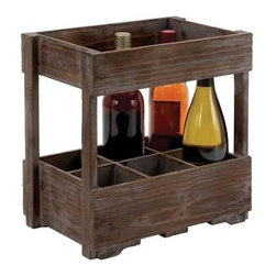 Woodland Imports Crate Design 6 Bottle Wood Wine Rack - The Woodland Imports Crate Design 6 Bottle Wood Wine Rack is picnic-perfect. With a rugged, natural finish, this sturdy caddy is constructed of solid hardwood and carries up to six wine bottles. This handsome piece can be used as a countertop display or portable wine carrier.