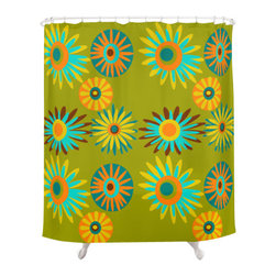 Crash Pad Designs - Crash Pad Designs Funky Shower Curtain - Barrett - Reinvent the standard floral shower curtain with this funky, retro-inspired pattern. This playful curtain is made from 100 percent polyester, features 12-stitched button holes for hanging, and will set such a mod tone for your bathroom decor.