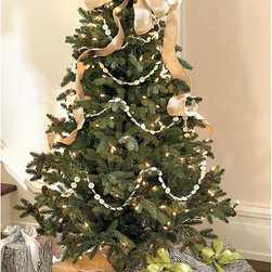 Ballard Designs - 4-Foot Spruce Christmas Tree - Perfectly sized for an apartment, smaller living room or even a bedroom. Hand crafted with the deep green color and soft, pliable outer needles of a Colorado spruce. Branches and center stem are carefully wrapped to give them a natural look and accented with real pinecones. Branches sparkle with dozens of white lights, arranged from the inside out, so favorite ornaments can be seen.