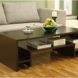 "Hokku Designs - 2-in-1 Coffee Table - Infuse your home decor with the versatile and space saving Paige Extendable Coffee Table. Unique table features a 2-in-1 table design with a smaller table that can be extended to offer for table space. Features: -Rich Matte Coffee Bean finish. -Constructed with MDF and strength enhancing wood veneers. -2-in-1 table design construction. -Smaller table can glide out when more table space is needed. -Smaller table is equipped with wheels for easy mobility. -Side shelves for storage. -Smaller dimensions: 6"" H x 32"" W x 24"" D."