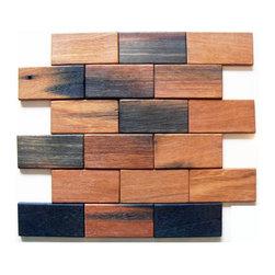 2 x 4 Brick Pattern Antique Wood mosaic sheet - Wood mosaic sheet mesh mounted