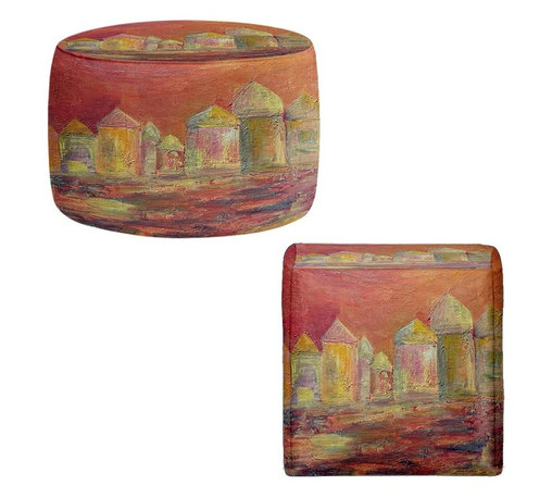 DiaNoche Designs - Ottoman Foot Stool by Dora Ficher - Orange Sky - Lightweight, artistic, bean bag style Ottomans. You now have a unique place to rest your legs or tush after a long day, on this firm, artistic furtniture!  Artist print on all sides. Dye Sublimation printing adheres the ink to the material for long life and durability.  Machine Washable on cold.  Product may vary slightly from image.