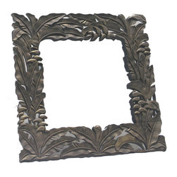 BradburyHD - Hand Carved Wood Square Frame with Mirror - Hand carved wood frame with mirror.