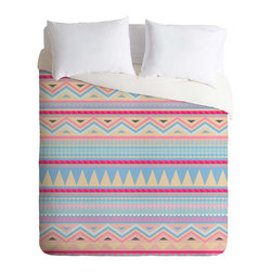 DENY Designs - DENY Designs Iveta Abolina Pastel Navajo Duvet Cover - Lightweight - Turn your basic, boring down comforter into the super stylish focal point of your bedroom. Our Lightweight Duvet is made from an ultra soft, lightweight woven polyester, ivory-colored top with a 100% polyester, ivory-colored bottom. They include a hidden zipper with interior corner ties to secure your comforter. It is comfy, fade-resistant, machine washable and custom printed for each and every customer. If you're looking for a heavier duvet option, be sure to check out our Luxe Duvets!