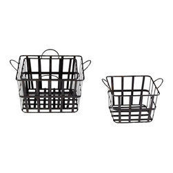 Cyan - Grocery Baskets, Set of 3 - Store bath towels, that gargantuan multiroll pack of bathroom tissue and much more in this trio of wire baskets. Different sizes let you achieve different storage goals, while the lattice design allows you to quickly and easily see what's where.