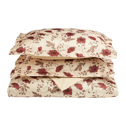 Microfiber 1800 Elm Leaf Duvet Cover Set - Full/Queen - Beige - This Microfiber Duvet Cover Set offers an affordable alternative to high thread count duvet covers. Microfibers are 100 times thinner than a strand of hair making the weave impenetrable to allergens and dust mites. This Duvet Cover set features a remarkable elm leaf and floral pattern on a cream colored backdrop. Set includes One Duvet Cover 90x92 and Two Pillow-shams 20x26 each.