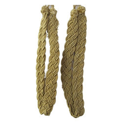 Pair of Gold Rope Curtain Tiebacks - Add a touch of class to your window treatments with our Tie Backs. These stunning tiebacks are hand-handcrafted using rayon cording. These handmade Tiebacks with full tassel and thick cord with a spread will add glamour to any curtain.