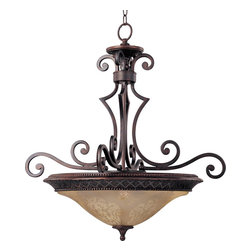 Maxim Lighting - Maxim Lighting Symphony Bowl Pendant Light in Oil Rubbed Bronze - Shown in picture: In either Screen Amber or Soft Vanilla Glass - the sharp angles of the Oil Rubbed Bronze body modernizes and inspires.