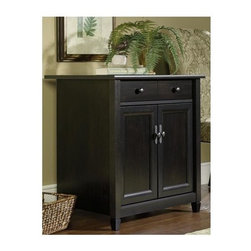 Sauder - Edge Water Utility Stand in Estate Black Fini - Storage drawers with metal runners and safety stops. Hidden storage behind doors features large adjustable shelf. Patented T-lock drawer system. Made of engineered wood. Assembly required. 28 in. W x 19 in. D x 29 in. H