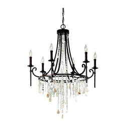 Murray Feiss Lighting - Murray Feiss Lighting-F2660/6HTBZ-Cascade - Six Light Single-Tier Chandelier - Feiss has a chandelier for every room in your home. Dazzling crystal pieces or simpler contemporary lines, we have both and everything in between. We also carry everything from grand multi-story entryway pieces to mini chandeliers that enhance the smallest spaces in your home. Beautiful craftsmanship and attention to detail ensures you will find the one that is right for you.