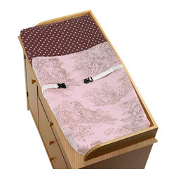 "Sweet Jojo Designs - Pink Brown Toile Changing Pad Cover - Pink Brown Toile changing pad cover will help complete the look of your Sweet Jojo Designs nursery. This changing pad cover can be used with standard or contoured changing pads up to 17"" x 31"". It also has elastic edges for a tailored, snug fit."