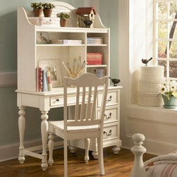 Retreat Desk - Homework and other tasks will be accomplished comfortably and efficiently from the Retreat Desk. Crafted from hardwood solids and painted wood products, this country cottage-style desk provides your child with plenty of work, storage, and display space. Finished in antiqued white, it's designed with elegant turned legs and bun feet for a timeless look. Four drawers keep school supplies organized and accessible. Accented with elegant dark bronze hardware, the English dovetailed drawers have full-extension metal guides to ensure smooth opening and closing. The optional hutch provides extra storage and display with one fixed shelf at the top, one long adjustable shelf, and two smaller adjustable shelves. Complete with wire management opening, the hutch holds everything from books and toys to photos and collectibles. The desk is available with an optional matching chair with a slat back and turned front legs. Dimensions: Desk: 45W x 18D x 30H inches Knee Hole Opening: 24W x 12D x 24H inches Hutch: 43W x 11D x 37H inches Chair: 23W x 18D x 40H inchesAbout Lea IndustriesLea Industries is a leading manufacturer of youth furniture. Each piece is crafted from fine hardwoods, veneers, wood products, and simulated wood to ensure both durable and quality furniture that will stand up to years of wear and tear. Lea's youth furniture offers a wide assortment of styles for both girls and boys, with a broad selection of specialized, functional designs, including four-poster canopy beds, bunk beds, storage beds, dual sleep beds, student desks, and learning centers for youth computing. Lea's wide variety of styles ranges from 18th century and country to casual contemporary. Lea traces its origins back to 1869. Their headquarters is located in Greensboro, N.C.