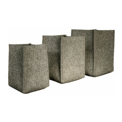The Felt Store - Felt Storage Baskets (Set Of 3) - 4, 5 and 6 Inch Baskets - These small felt storage baskets are made of 5mm thick industrial gray felt and are perfect for your coffee table, fireplace mantle, bookshelf or desk. Keep just about anything in these baskets! The sizes of the baskets included are: 4 inches square base x 6 inches high, 5 inches square base x 7 inches high and 6 inches square base x 8 inches high. The three baskets nest together nicely for easy storage and transportation.