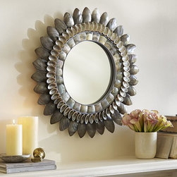Bethany Round Shell Mirror - Oh, I love this shell mirror! Just look at the wonderful texture. The layers are very distinct and eye-catching.