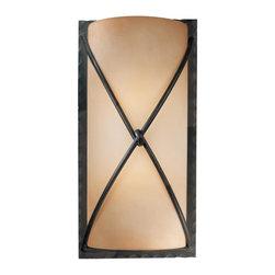 Minka Lavery - Minka Lavery 1975-1-138 Aspen Bronze 2 Light Wall Sconce - Rustic Scavo Glass Shade