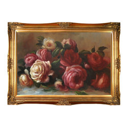 None - Pierre-Auguste Renoir 'Discarded Roses' Hand Painted Framed Canvas Art - Artist: Pierre-Auguste RenoirTitle: Discarded RosesProduct type: Canvas Art