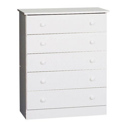 Prepac - Prepac White Edenvale 30 Inch 5-Drawer Chest - Go for maximum storage with the edentate 5 drawer chest. Designed in a crisp, simple style, this chest's five full-sized removable drawers gives you a ton of storage in one understated, budget-friendly package. This essential piece will be right at home in a bedroom of any size or decor. Straightforward storage at last! complete the look with other pieces in the edentate bedroom collection!