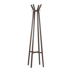 "Adesso Inc. - Summit Coat Rack - This towering wood coat rack has a walnut wood veneer finish with satin steel accents. Four legs create a tower and fan out to form hooks at the tip, accented by satin steel peg hooks that provide more space for hanging coats. Each satin steel peg extends 2"" from the body. 69"" Height, 15"" Square footprint. Clearance from floor to support cross-bar: 15""."