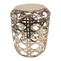 Threshold Basketweave Metal Accent Table