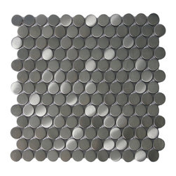 CNK Tile - Stainless Steel Circles, Sqft - Our heavy duty stainless steel mosaic tiles are made with a heavy porcelain base, double A grade stainless steel with a mesh backing for easy installation. These stainless steel tiles are great for vertical surfaces such as a backsplash for a stove top in the kitchen. Unsanded grout is required for the installation for stainless steel tiles.