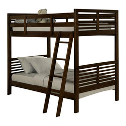 Homelegance - Homelegance Paula II Twin/ Twin Bunk Bed - Cherry - The refined European design in Paula II collection looks fabulous with its charming modern look. The symmetrical slat design of the headboard and mirror plays together with coordinating case pieces to create a perfect harmony. Constructed of New Zealand pine solids and veneers in dark cherry or cherry finishes featuring updated crescent shaped handles.