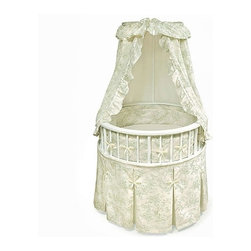 Badger Basket - Elegance Bassinet with Toile Bedding - The Elegance Bassinet is the most charming and unique place for your newborn to sleep. This special round bassinet is comfortable for your baby and stylish for your home. The furniture quality construction makes it an instant family heirloom sure to be passed down to future generations. Features: -Canopy is height adjustable.-Graceful canopy shades the interior to keep out harsh light while the baby is sleeping.-Bumper attaches with grip tape and ribbon ties and is padded with polyester fill.-Storage shelf beneath bassinet.-Bedding removable and washable.-For use up to 20 lbs., 3-4 months, or until the baby can push up, roll over, or sit unassisted (whichever age, weight, or activity limit comes first).-Toile bedding set includes pleated skirt, soft bumper, fitted sheet, and drape canopy.-Caster wheels included.-Custom fitted vinyl mattress pad included.-Elegance collection.-Collection: Elegance.-Distressed: No.Dimensions: -Storage shelf: 24'' H x 17'' W.-Bassinet rim to floor: 31'' H.-Overall: 49'' H x 32'' W x 32'' D, 35 lbs.-Overall Product Weight: 35 lbs.