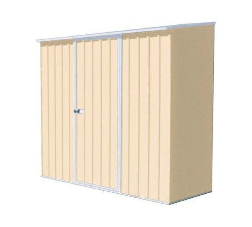 ABSCO Spacesaver 7 x 3 Tool Shed - Classic Cream - In small homes storage space is at a premium - you don't want to bog it down with tools bicycles patio furniture or seasonal decor. Instead leave your cabinets and cupboards to linens and dishes and stash bulk in the ABSCO Spacesaver 7 x 3 Tool Shed - Classic Cream a super-durable shed with a smart space-saving footprint. Crafted with heavy-duty maintenance-free galvanized BlueScope steel this storage shed assembles quickly and easily with a SNAP-TiTE system pre-drilled holes and smooth safety edges. Once it's up it slips neatly under the back porch eaves or in the carport or garage storage area. With the use of anchors outside the shed can withstand wind gusts of 90 mph and the door is braced and hinged for added security. Available in neutral classic cream. Includes 20-year manufacturer's warranty against rust. Dimensions: Exterior dimensions: 89L x 31W x 77H inches Interior dimensions: 87L x 29W x 76H inches Door dimensions: 30W x 69H inches About ABSCO ShedsWholly owned Australian company ABSCO Industries manufactures a large range of steel products including garden sheds and out buildings. ABSCO has been a leading supplier of these products to the hardware and outdoor building industries for over 25 years. Their outstanding reputation continues to be recognized throughout Australia and rapidly expands to overseas markets including New Zealand and Europe. A market leader ABSCO offers innovative designs and their range of garden sheds and other products incorporate the world patented SNAPTiTE Easy to Assemble System.