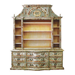 Koenig Collection - French Media Cabinet Paris, Celeste Distressed W/ Amaryllis Undertones - French Media Cabinet Paris, Celeste Distressed W/ Amaryllis undertones and Bone Scrolls