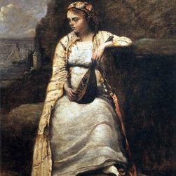 """Jean-Baptiste-Camille Corot Haydee, Young Woman Print - 18"""" x 24"""" Jean-Baptiste-Camille Corot Haydee, Young Woman in Greek Dress premium archival print reproduced to meet museum quality standards. Our museum quality archival prints are produced using high-precision print technology for a more accurate reproduction printed on high quality, heavyweight matte presentation paper with fade-resistant, archival inks. Our progressive business model allows us to offer works of art to you at the best wholesale pricing, significantly less than art gallery prices, affordable to all. This line of artwork is produced with extra white border space (if you choose to have it framed, for your framer to work with to frame properly or utilize a larger mat and/or frame).  We present a comprehensive collection of exceptional art reproductions byJean-Baptiste-Camille Corot."""